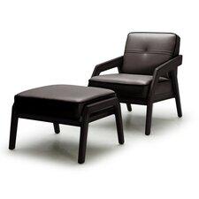 Aubrey Leather Modern Arm Chair and Ottoman