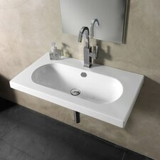 EDO Wide Ceramic Bathroom Sink with Overflow