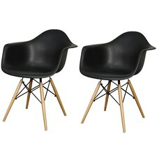 Carl Arm Chair with Wooden Legs (Set of 2)