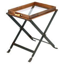 Wood and Glass Tray on Folding Stand