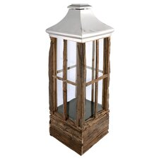 Rectangular Wood and Stainless Steel Lantern