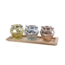 4 Piece Metallic Votive & Tray Set