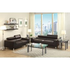 Bobkona Ellis Bonded Leather Sofa and Loveseat