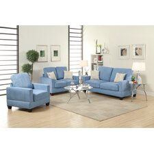 Bobkona Madison Microsuede 3 Piece Sofa and Loveseat with Chair Set