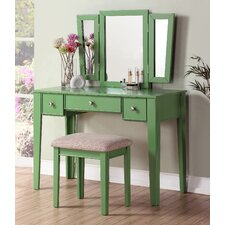 Bobkona Adar Vanity & Stool Set with Mirror