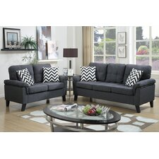 Bobkona Tyler 2 Piece Sofa and Loveseat Set