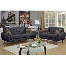 Bobkona Sonya 2 Piece Sofa and Loveseat Set