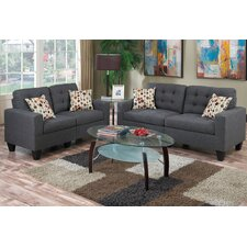 Bobkona Windsor 2 Piece Sofa and Loveseat Set
