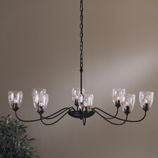 8 Light Chandelier with Water Glass Shade