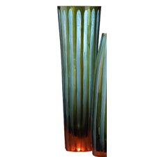 Large Striped Chiseled Glass Vase