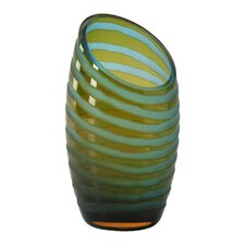 Small Angle Cut Etched Vase in Cyan Blue and Orange