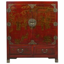 Handmade Oriental Antique Style Traditional Heirloom Accent Cabinet