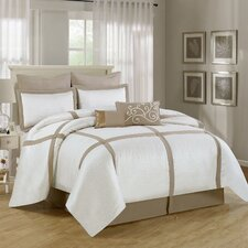 Symphony 8 Piece Comforter Set in Beige & White