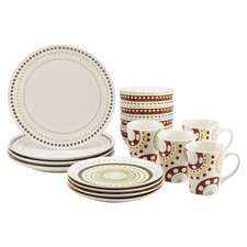 Circles and Dots 16 Piece Dinnerware Set