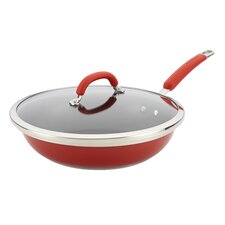 """Stainless Steel Colors 12"""" Non-Stick Skillet with Lid"""