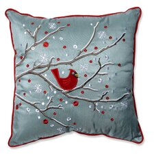 Holiday Cardinal on Snowy Branch Throw Pillow