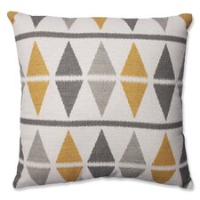 Ikat Argyle Birch Cotton Throw Pillow