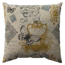 Butterfly Scroll Cotton Throw Pillow