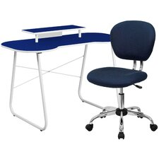 Computer Desk with Monitor Stand & Mesh Chair