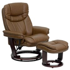 Contemporary Leather Recliner and Ottoman III