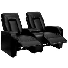 Leather 2 Seat Home Theater Recliner with Storage Console