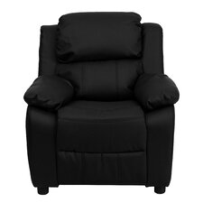 Deluxe Contemporary Personalized Kids Leather Recliner with Storage Compartment