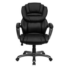 Personalized High-Back Leather Executive Chair with Leather Padded Loop Arms
