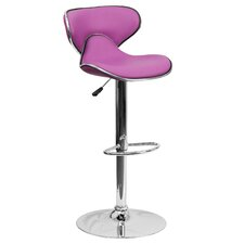 Contemporary Adjustable Height Swivel Bar Stool with Saddle Cushion