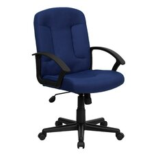 Mid-Back Fabric Office Chair with Nylon Arms (Set of 2)