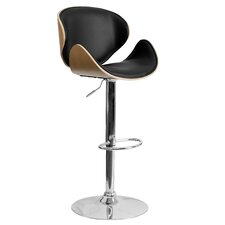 Curved Adjustable Height Swivel Bar Stool (Set of 2)