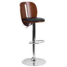 Walnut Bentwood Adjustable Height Swivel Bar Stool (Set of 2)