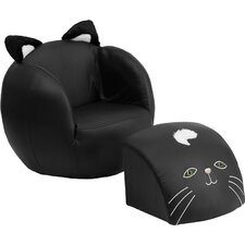 Cat Kids Club Chair and Footrest