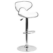Contemporary Adjustable Height Swivel Bar Stool with Saddle Cushion