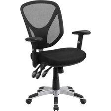 Mid-Back Black Mesh Conference Chair with Arms