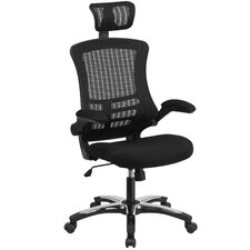 High Back Mesh Swivel Conference Chair with Flip-Up Arms, Chrome-Nylon Designer Base