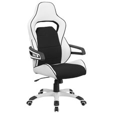 High Back Vinyl Executive Swivel Chair with Fabric Inserts