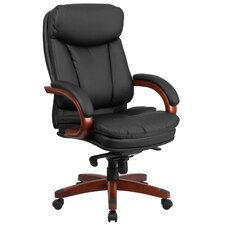 High Back Leather Executive Swivel Chair with Synchro-Tilt Mechanism