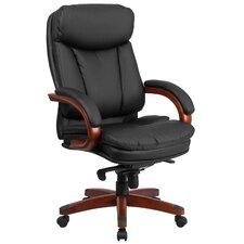 High Back Leather Executive Swivel Chair with Synchro-Tilt Mechanism