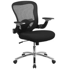 Mid-Back Mesh Conference Chair with Padded Seat And Height Adjustable Flip-Up Arms