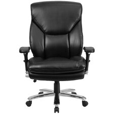 Hercules Series Leather Swivel Chair with Lumbar Support Knob