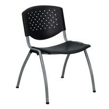 Hercules Series Polypropylene Stack Chair with Titanium Frame Finish in Black