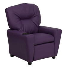 Contemporary Kids Leather Recliner with Cup Holder