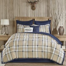 Feather Plaid Comforter Set