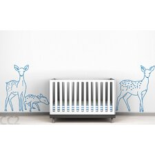 Fauna Deer Family Outline Wall Decal