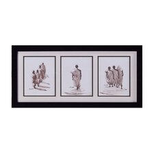 Monks in File Framed Original Painting