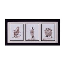 Monks in File Framed Original Painting