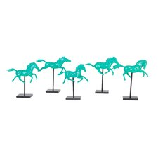 5 Piece Galloping Horse on Stand Statue Set