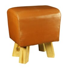Byron Teak and Leather Stool