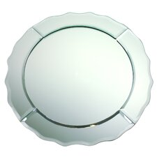 """13"""" Scalloped Edge Round Mirror Glass Charger"""