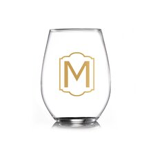 Monogram Gold Stemless Wine Glass (Set of 4)